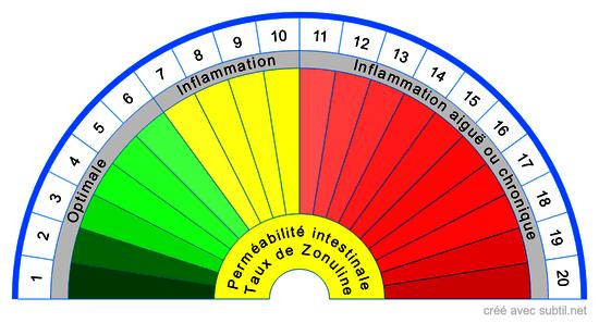 Taux de Zonuline test de perméabilité intestinale
