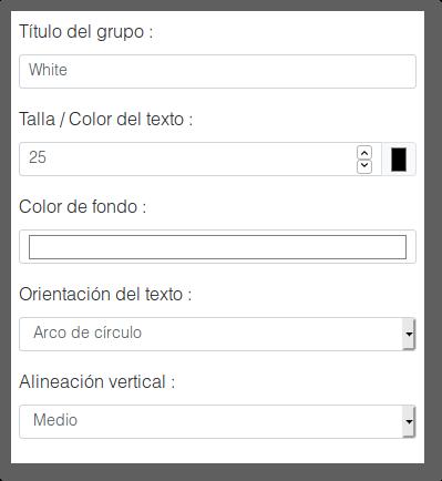 menú de personalización del grupo