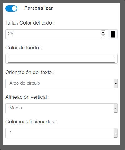 Menú personalización del elemento